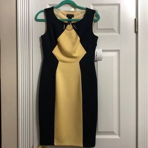 Navy and yellow dress